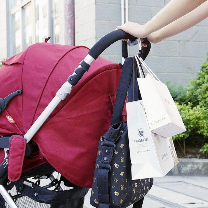 Hak na torby z zakupami przyczepiany do wózka