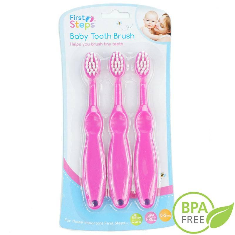 Różowe szczoteczki do zębów dla niemowląt