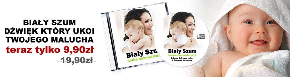 Reklama płyty Biały Szum na kolkę niemowlęcą