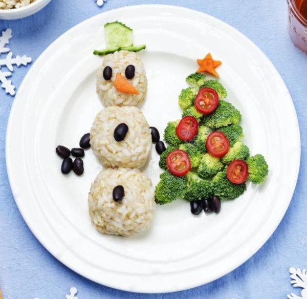Bałwanek z ryżu oraz warzyw